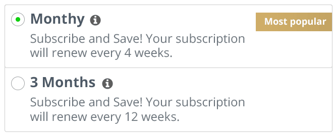 Subscription selection panel